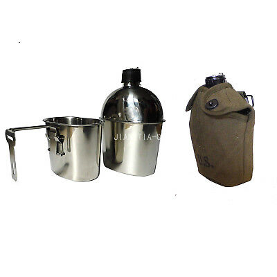 Reproduction US Stainless Steel Canteen with Cover Set Metal Hook Green