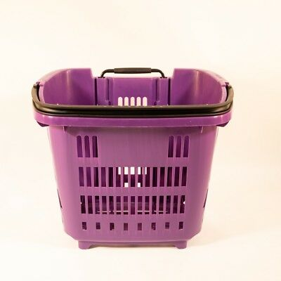 Wheeled Plastic Pull Along Shopping Basket 34 Litre with extendable handle x 5