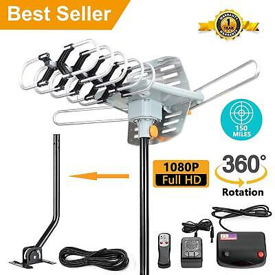 150 Miles Outdoor TV Antenna Motorized Amplified HDTV High Gain 32dB UHF VHF New