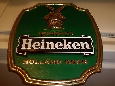 VTG Plastic Heineken Draught Beer Windmill Green Pub Sign Hanging Adhesive