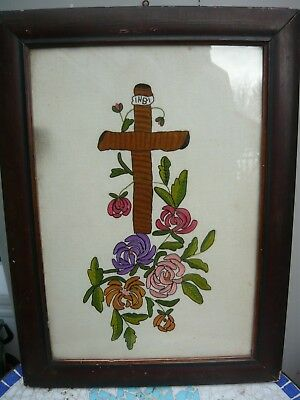 Vintage/Antique Greek Religious embroidery of Crucifix and Flowers. Good Cond.