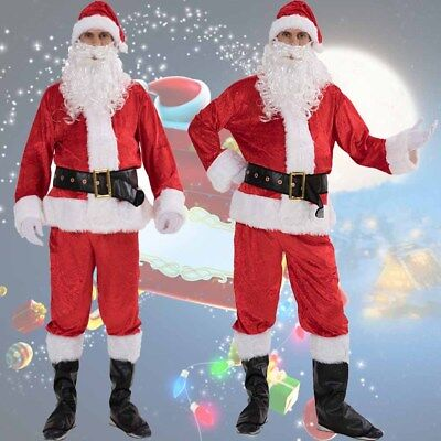 Christmas Santa Claus Costume Fancy Dress Adult Suit Cosplay Party Outfit 7PCS