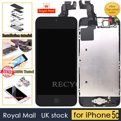 Black Screen For iPhone 5C Replacement Digitizer LCD Touch Home Button Camera UK