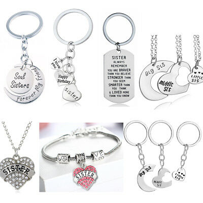 Big/Middle/Little Sis Sister Friendship Necklace Keychain Gift For Sister Charm