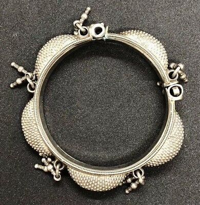 RAJASTHAN SILVER Bangle Bracelet ANTIQUE Old VINTAGE India Tribal  - RARE