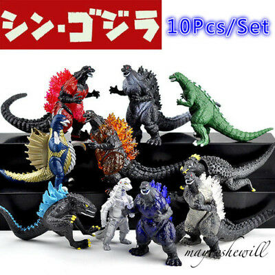 Godzilla Monsters 10 pcs Action Figure Set Mechagodzilla Trendmaster Toy Model