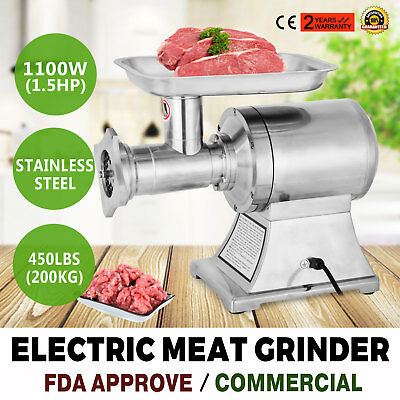 Commercial Grade 1.5HP Electric Meat Grinder 1100W Stainless Steel Heavy Duty