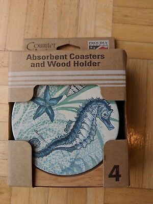 Counter Art Set Of 4 Stone Coasters With Wood Holder-Brand New In Package