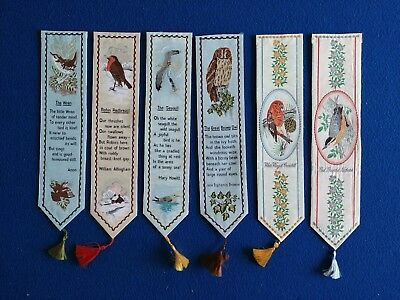 6 x Cash's of Coventry Woven Silk Bookmarks - Birds