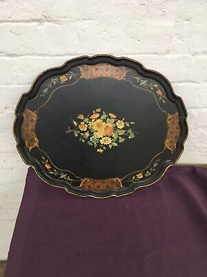 19th CENTURY VICTORIAN LACQUERED SERVING TRAY WITH FLORAL MOTIF