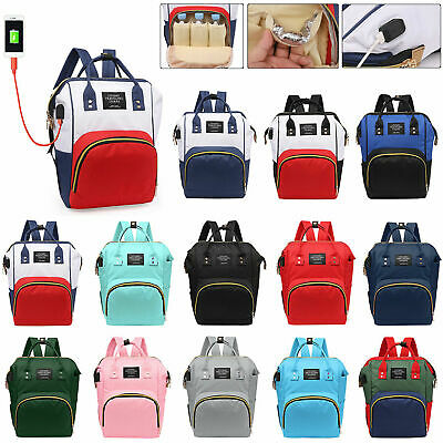 Mummy Diaper Bags Maternity Baby Nappy Large USB Backpack Travel Changing Bag