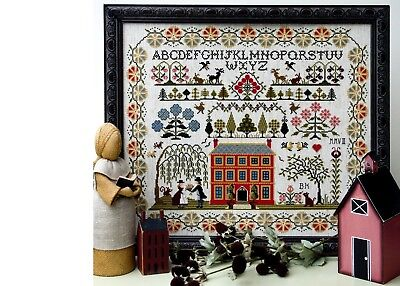 Cross Stitch Sampler Chart - RED HOUSE. The Sampler Company. Brand new