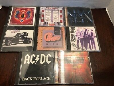 Lot of (8) Classic Rock CDs - 80s Variety AC/DC Styx KISS Journey Foreigner, Etc