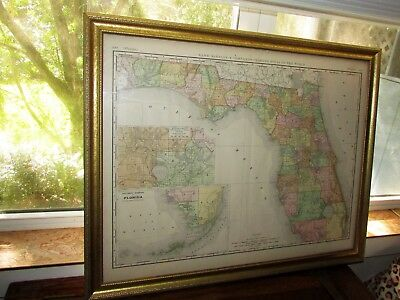 ANTIQUE FLORIDA MAP 1892 RAND McNALLY ATLAS FRAMED