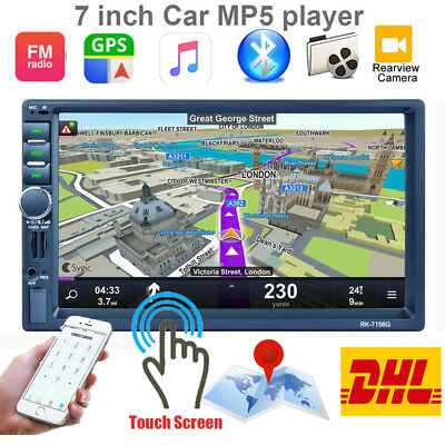 """7"""" 2 DIN Bluetooth Touch Screen 1080P Car MP5 Player Stereo GPS Navi USB RDS IT"""