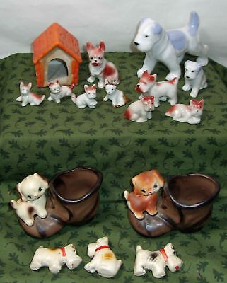 Vintage Dog & Puppy Figurines With A Doghouse, Toothpick Holder Boots - Japan