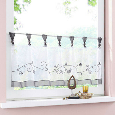 Flower Floral Tiers Kitchen Curtains Rod Pocket Casual Weave Cafe Room N7