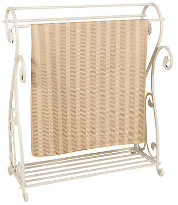 3643 - Whitewash Metal Quilt Rack