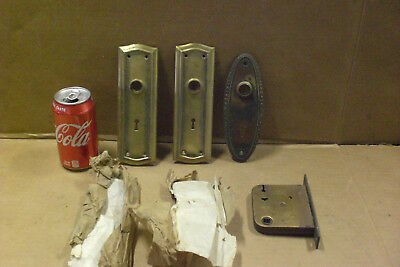 Lot Of Vintage Brass Door Back Plates & One Latch Assembly Victorian House