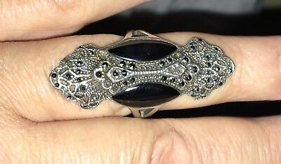 Antique Vintage Art Deco Silver Marcasite & Onyx Ring, Very Long On Finger