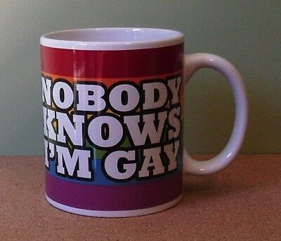 Lbgt Gay Pride Rainbow - Nobody Knows I'm Gay Ceramic Mug  New