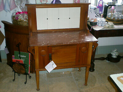 Vintage Wash Stand with Marble Top & Back Splash