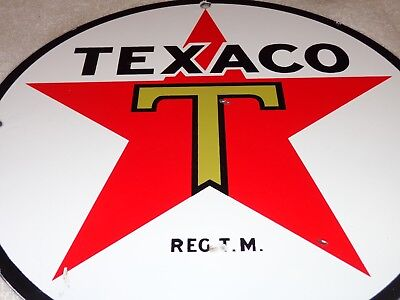 "Vintage ""texaco Gasoline"" Star ⭐️ & Green T 11 3/4"" Porcelain Metal Gas Oil Sign"