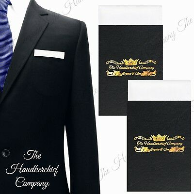 TheDapperTie Mens Solid Triangle Pre Folded Pocket Square on Card