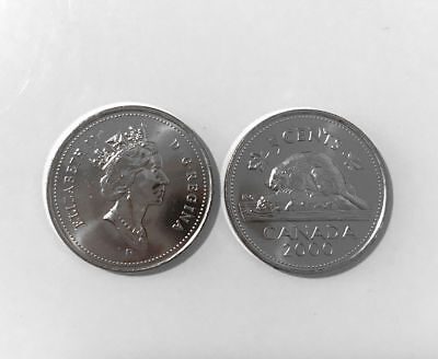 2000P Canada Ch. UNC Nickel 5 cent coin **VERY LOW MINTAGE; HIGH GRADE**