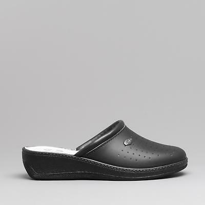 Medi Mules Womens Leather Medical Nursing Open Back Clogs Black MADE IN ITALY