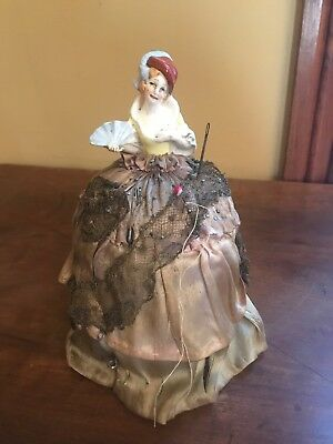 Antique Vintage Victorian Lady Pin Cushion Ceramic Porcelain?