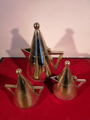 Visually Striking With Classic 'art Deco' Styled 3 Piece Conical Shaped Tea Set