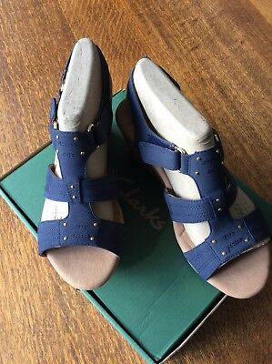 1ad992d0c3fc BRAND NEW Clarks Blue Leather Wedge Sandals with Ortholite Footbed Size 37.5