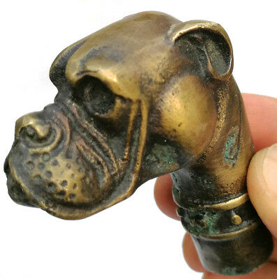 Old Chinese Bronze Handmade Carved Dog Statue Cane Walking Stick Head