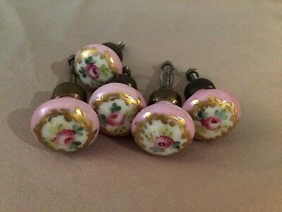 Lot of Five Antique Floral Porcelain Door Knobs