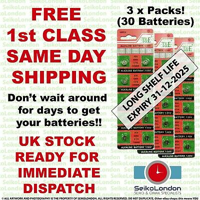 30X AG4 SR626SW G4A LR626 LR66 L626 177 377A 1.55v Battery FREE 1st class post