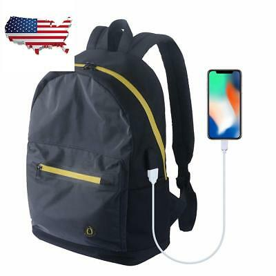 Sling Reflective Canvas Backpack Anti-Theft Crossbody Shoulder USB Charging Port