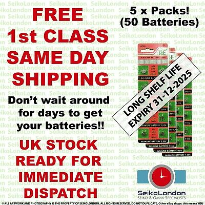 50X AG4 SR626SW G4A LR626 LR66 L626 177 377A 1.55v Battery FREE 1st class post