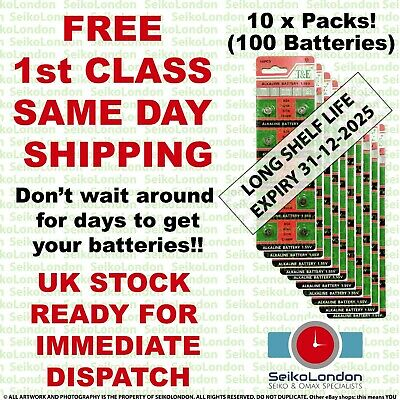 100X AG4 SR626SW G4A LR626 LR66 L626 177 377A 1.55v Battery FREE 1st class post
