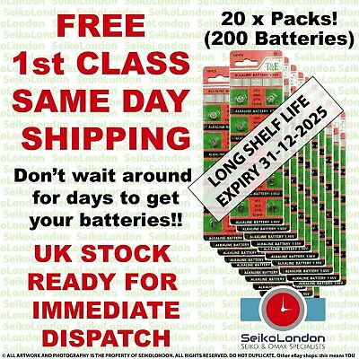 200X AG4 SR626SW G4A LR626 LR66 L626 177 377A 1.55v Battery FREE 1st class post