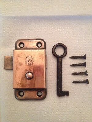 Antique Solid Brass Cabinet Door Lock & Key & Screws - HARD TO FIND Works Great!