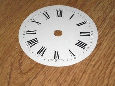 "Round Paper Clock Dial-3 1/4"" M/T-Roman-with 'West Germany'-White-/Parts/Spares"
