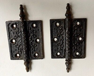 ANTIQUE Iron Victorian Ornate LG PAIR of DOOR HINGES