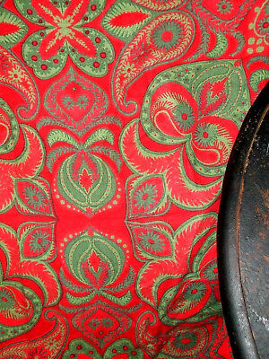 Vintage Vera Neumann Red And Green Holiday Linen & Rayon Tablecloth 58x80 Oval