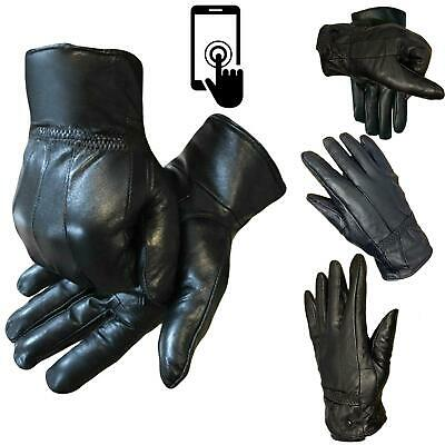 Mens Touch Screen Real Leather Gloves Black Lined Thermal Driving Winter Gift