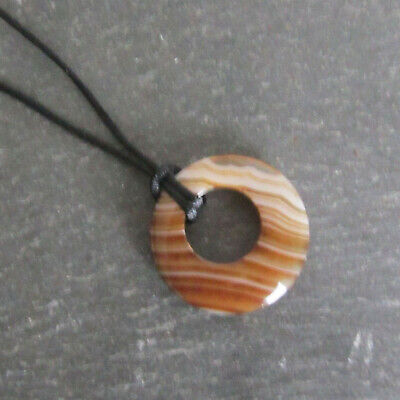 Colourful BANDED AGATE DONUT BEAD Pendant With Cord Necklace - Choice of Stones