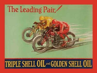 Retro Vintage Style Metal Sign Shell The Leading Pair Oil Motorbike Biker Garage
