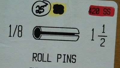 """(25 Pieces) 1/8 X 1-1/2"""" 420 Ss Stainless Steel Spring Pins Roll Pin Slotted Nh"""