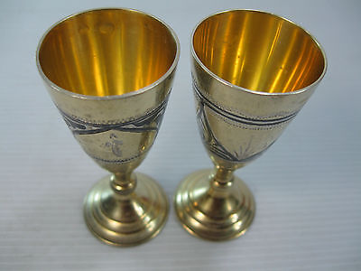 A Lovely Pair Of Small Vintage Russian Solid Silver 875 Goblets