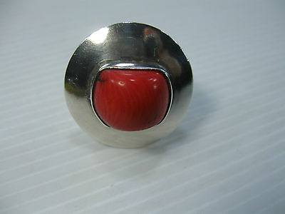A Beautiful Vintage Silver Ring With A Red Coral ? Stone In Good Condition